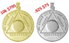 AA Precious Metal Coin Pendant in 14k 10k or Sterling