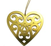 AA Heart Laser Engraved Ornament
