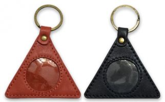 AA Circle-Triangle Black Leather Key Ring