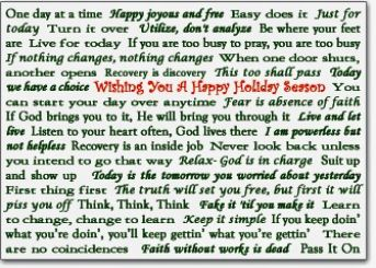 Slogans - Recovery Christmas Card