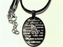 Black Oval Serenity Prayer Pendant Necklace