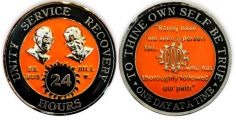 Orange Black and Chrome Bill and Bob SOS God Centered 24 Hour AA Coin