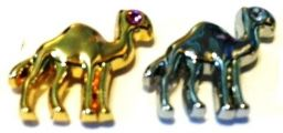 Gold or Nickel Plated Camel Pin with jeweled eye