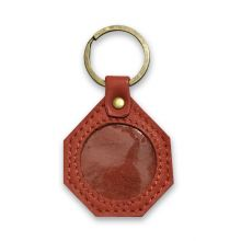 Stop Sign Leather Coin Holder Key Ring