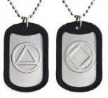 AA or NA Symbol Recovery Metal Dog Tags Necklace