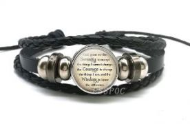 Black Leather Serenity Prayer Bracelet