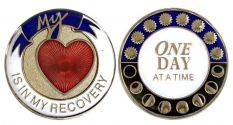 Tri-Plated My Heart is in my Recovery Medallion with 3D effect